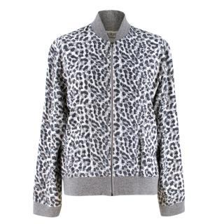 Tucker Grey Leopard Print Zip Jacket