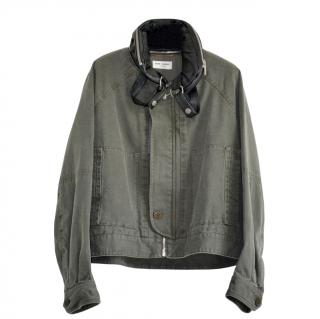Saint Laurent Khaki Jacket with Detachable Collar