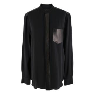 Ralph Lauren Black Leather Trim Blouse