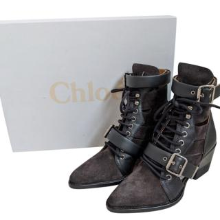 Chloe Two-Tone Leather & Suede Rylee Boots