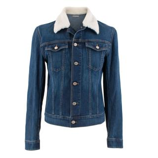 Dior Homme Blue Denim Jacket with Shearling Trim