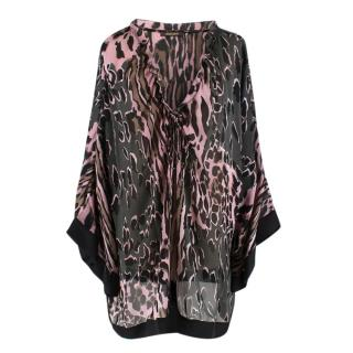 Roberto Cavalli Pink and Grey Animal Print Silk Blouse