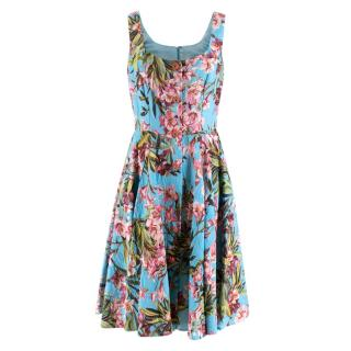 Dolce & Gabbana Blue Floral Print Sleeveless Dress