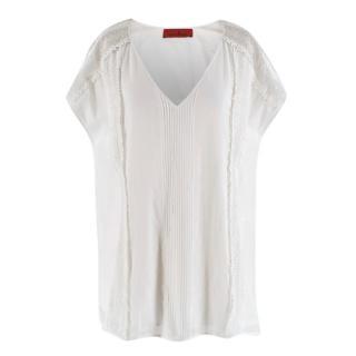 Carolina Herrera White Lace Trim Sleeveless V-Neck Top