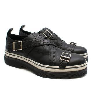 Dior Homme Black Leather Cross Strap Platform Brogues