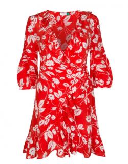 Rixo Red & White Floral Mini Wrap Dress
