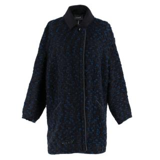 Isabel Marant Black & Blue Tweed Boucle Coat