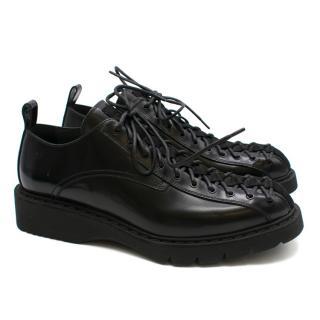 Dior Homme Black Leather Cross Lace Platform Oxfords