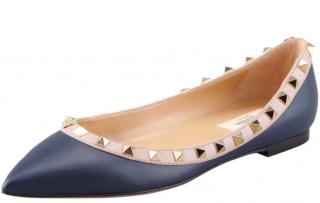 Valentino Garavani Leather Rockstud Ballerina Flats