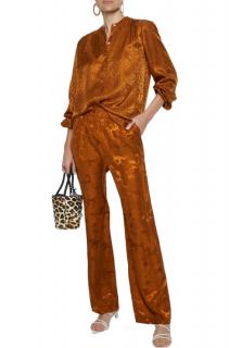 Ganni Ackerly Horse-pattern Wide-leg Silk Trousers