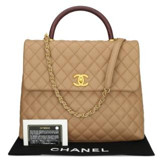 Chanel Beige Caviar Leather Coco Top Handle Tote
