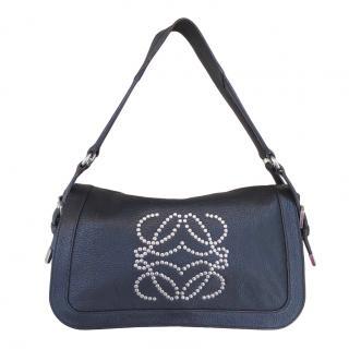 Loewe Black Leather Studded Shoulder Bag
