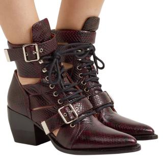 Chloe Burgundy Snake Embossed Rylee Cut-Out Boots