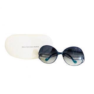 Balenciaga Oversized Blue Round Sunglasses