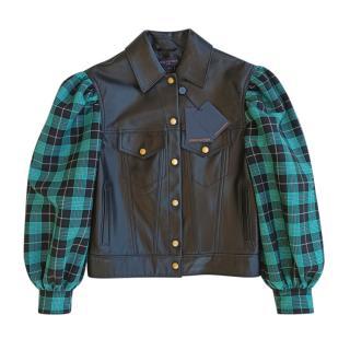 Louis Vuitton Plaid Trimmed Leather Jacket