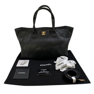 Chanel Executive Cerf Black Caviar Leather Tote Bag