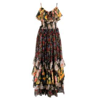 Dolce & Gabbana Floral Silk Chiffon Tiered Dress