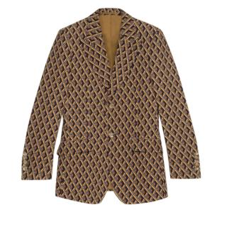 Gucci Wicker Print Silk Cady Jacket