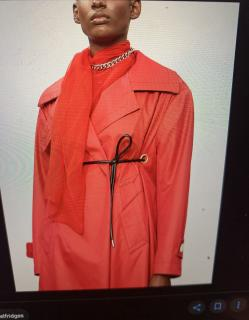 Sacai Red Wool Blend Belted Trench Coat