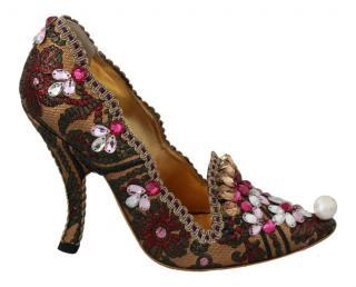 Dolce & Gabbana Beaded Jacquard Pumps