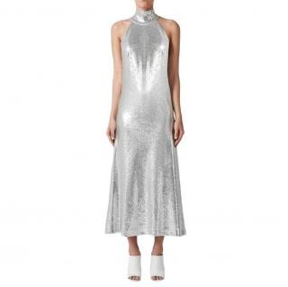 Galvan Daniela Sequin High Neck Midi Dress