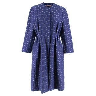 Marni Blue Textured Circle Embroidered Coat