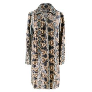 Christian Dior Natural Blue Snakeskin Coat