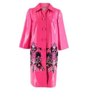 Miu Miu Fuchsia Embellished Glossy Patent Coat