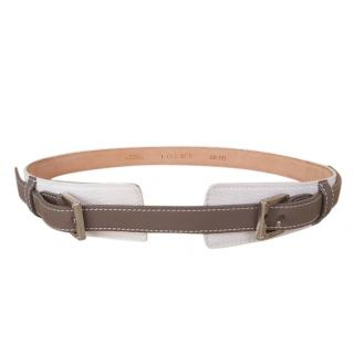 Loewe White Canvas/Taupe Leather Belt