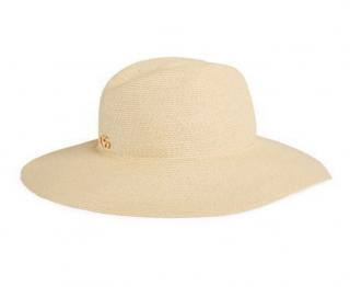Gucci GG logo wide brim raffia hat