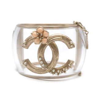 Chanel Faux Pearl Enamel Plexi Brushed Gold Tone CC Cuff