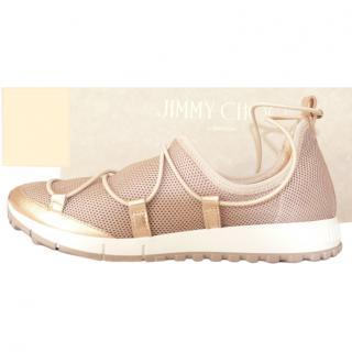 Jimmy Choo Rose Gold Mesh Sneakers