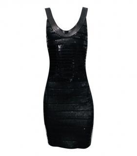 Herve Leger Black Sequin Mini Dress