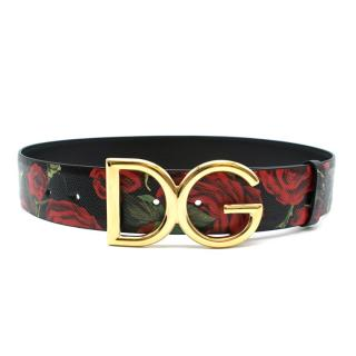 Dolce & Gabbana Black Rose Print Belt