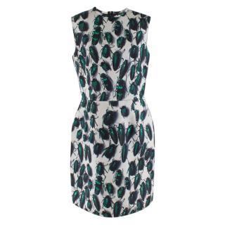 Lanvin Beetle Print Green Knee Length Sleeveless Dress