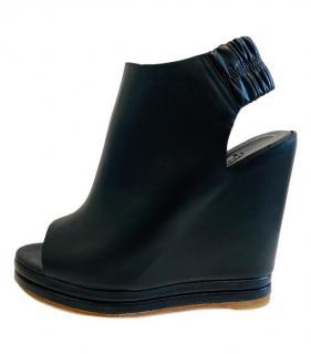 Balenciaga Black Open Toe Wedge Slingbacks