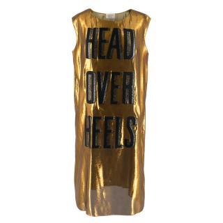 Lanvin Gold Head Over Heels Sleeveless Shift Dress