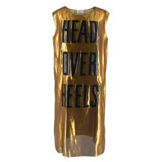 Lanvin Gold Head Over Heels Sleeveless Shift Dress