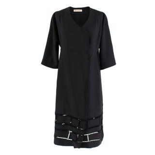 Marni Embroidered Cut-Out Wrap Dress