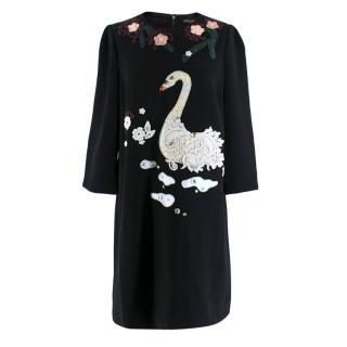 Dolce & Gabbana Lace Swan Applique Dress
