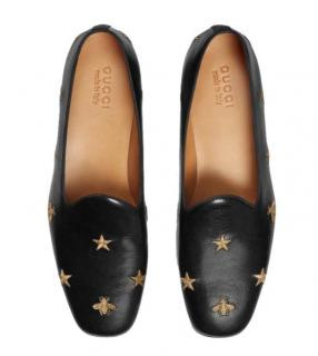 Gucci Bee Star Embroidered Leather Loafers