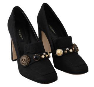 Dolce & Gabbana Black Embellished Brocade Pumps