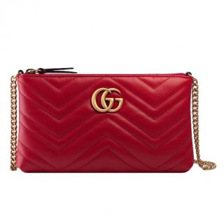 Gucci GG Marmont Mini Chain Bag - Hibiscus Red