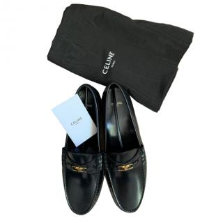 Celine Black Polished Calfskin Triomphe Loafers