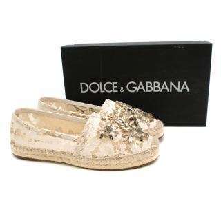 Dolce & Gabbana Crystal Embellished Lace Espadrilles