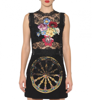 Dolce & Gabbana Sleeveless Floral Embroidered Black Lace Top