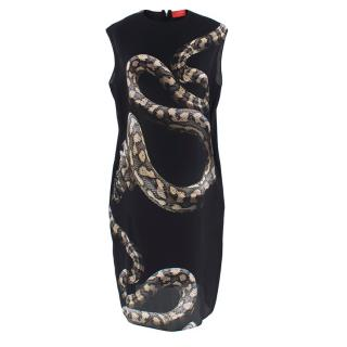Lanvin Black Python Print Silk Shift Dress