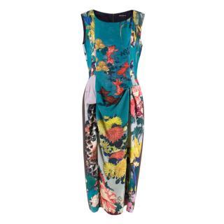 Rochas Blue Floral Jacquard Draped Dress