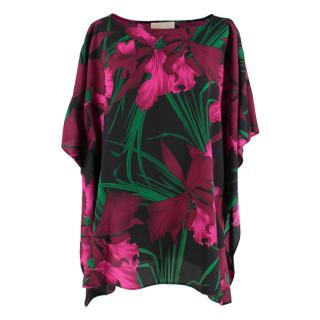 Michael Michael Kors Black & Pink Floral Oversize Tunic