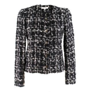 Iro Black & White Boucle Tweed Zip Jacket
